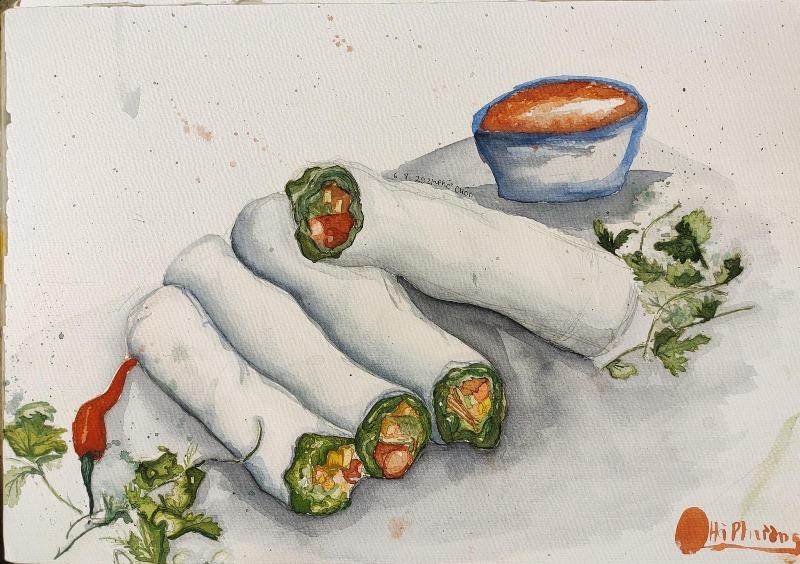 Thưởng thức món ngon Hà Nội qua tranh ký họa
